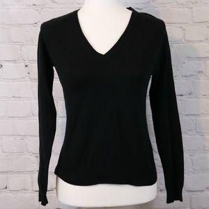 Zara Black Long-Sleeve V-Neck Knit Top